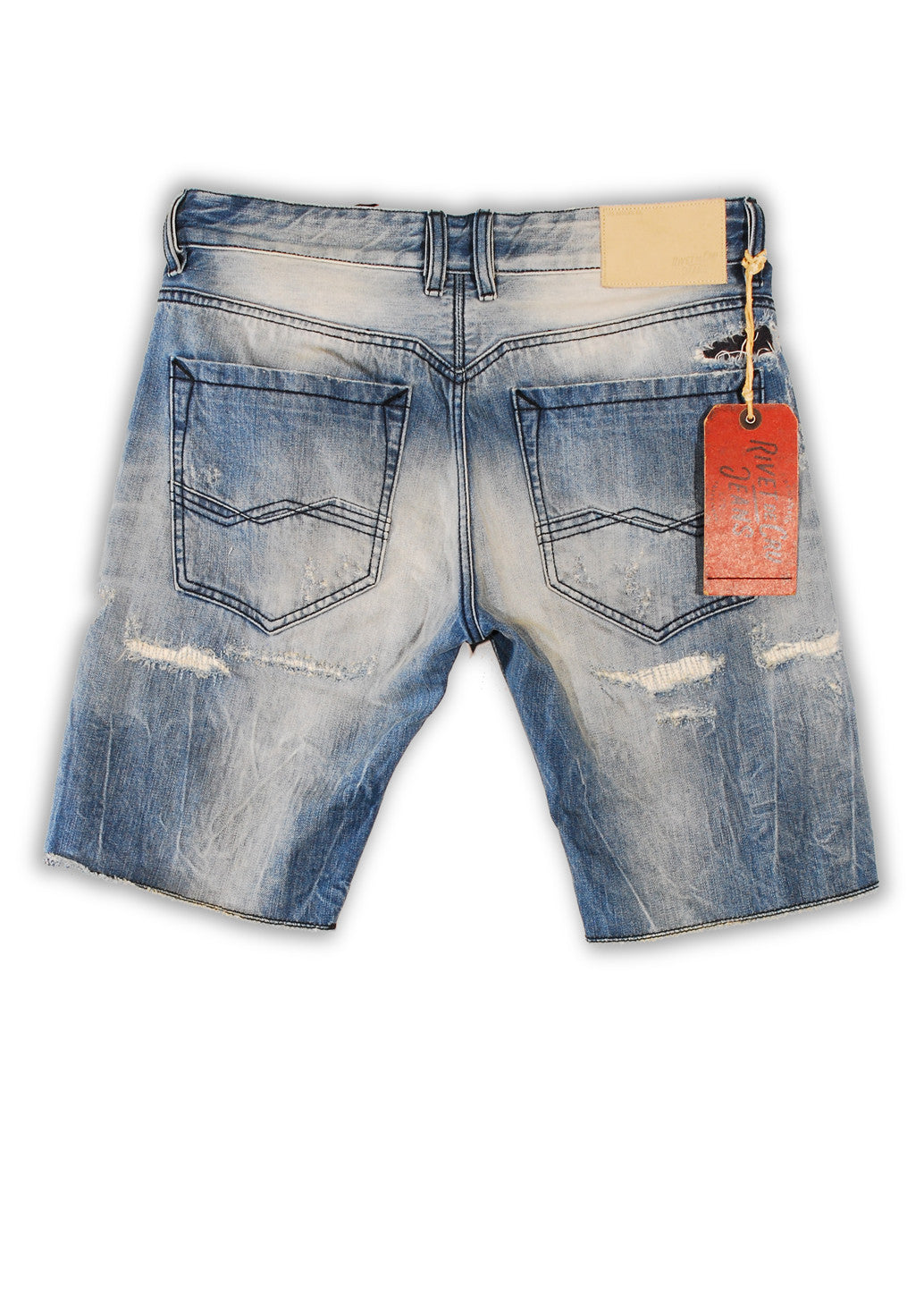 1TS-064 Sky Dream Blue Shorts - Rivet De Cru Jeans - Premium Denim