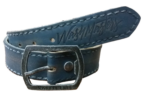 1BL-826 Blue Leather Belt - Rivet De Cru Jeans - Premium Denim - Mens Fashion - Mens Clothing - Mens Jeans - Mens Denim