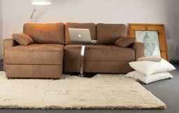 corner storage sofa-bed brown fabric
