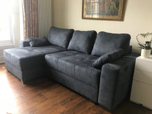 dark grey corner storage sofa bed