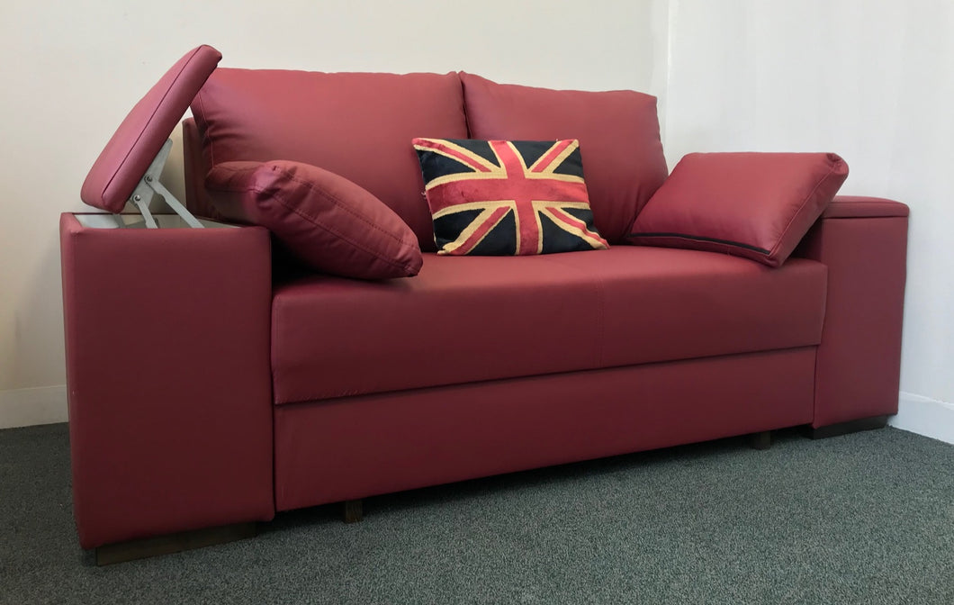 red leather storage sofa bed