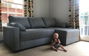 grey fabric corner storage sofa bed