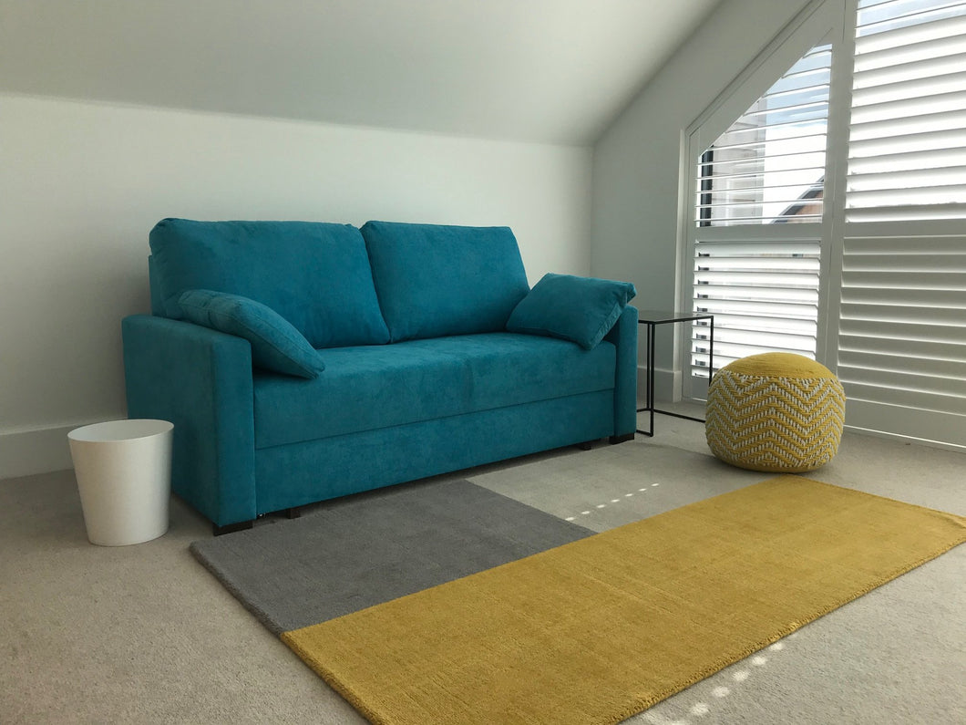 Compact - teal blue  140 wide Sofa Bed