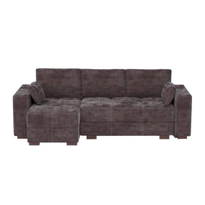 soft brown corner  Storage Sofa Bed