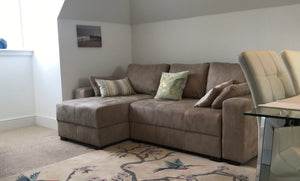 light brown  Corner - Storage Sofa Bed