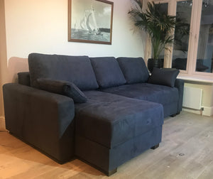 Corner Sofa Bed - Blue fabric