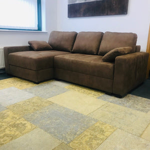 Corner Sofa Bed - brown fabric