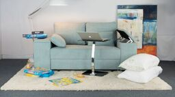 Duck egg blue sofa-bed in Fabric