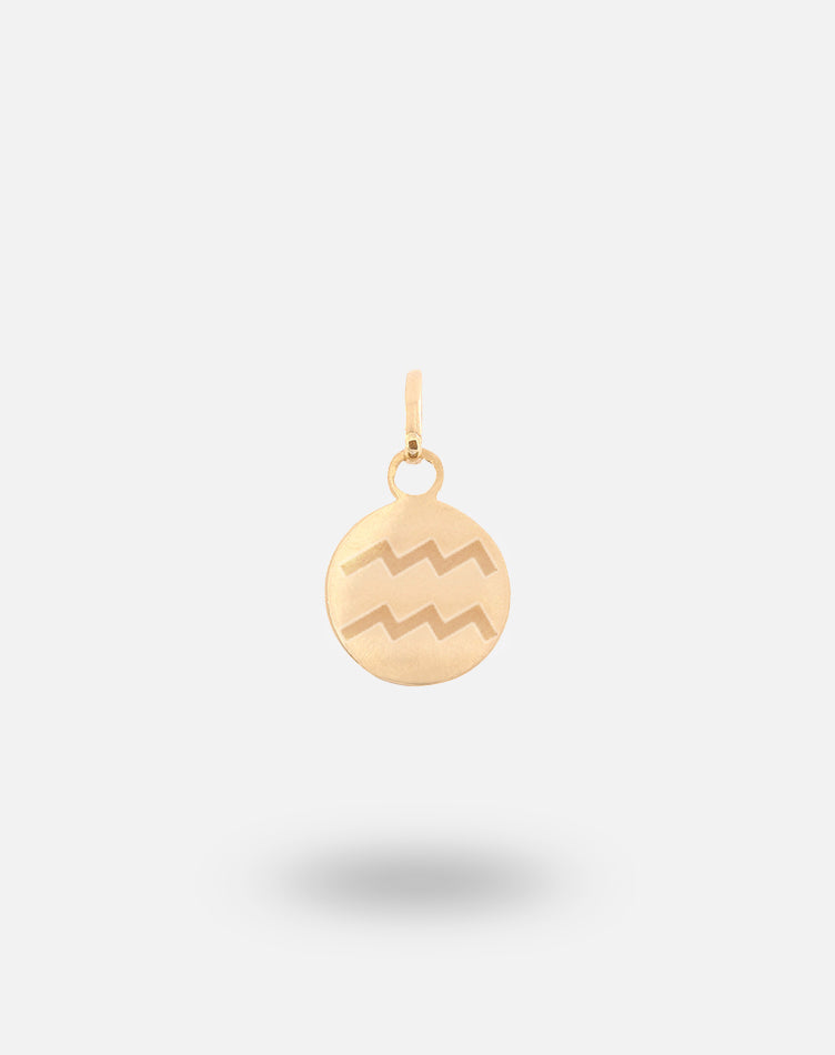 Gold Zodiac Disc Charm - Aquarius