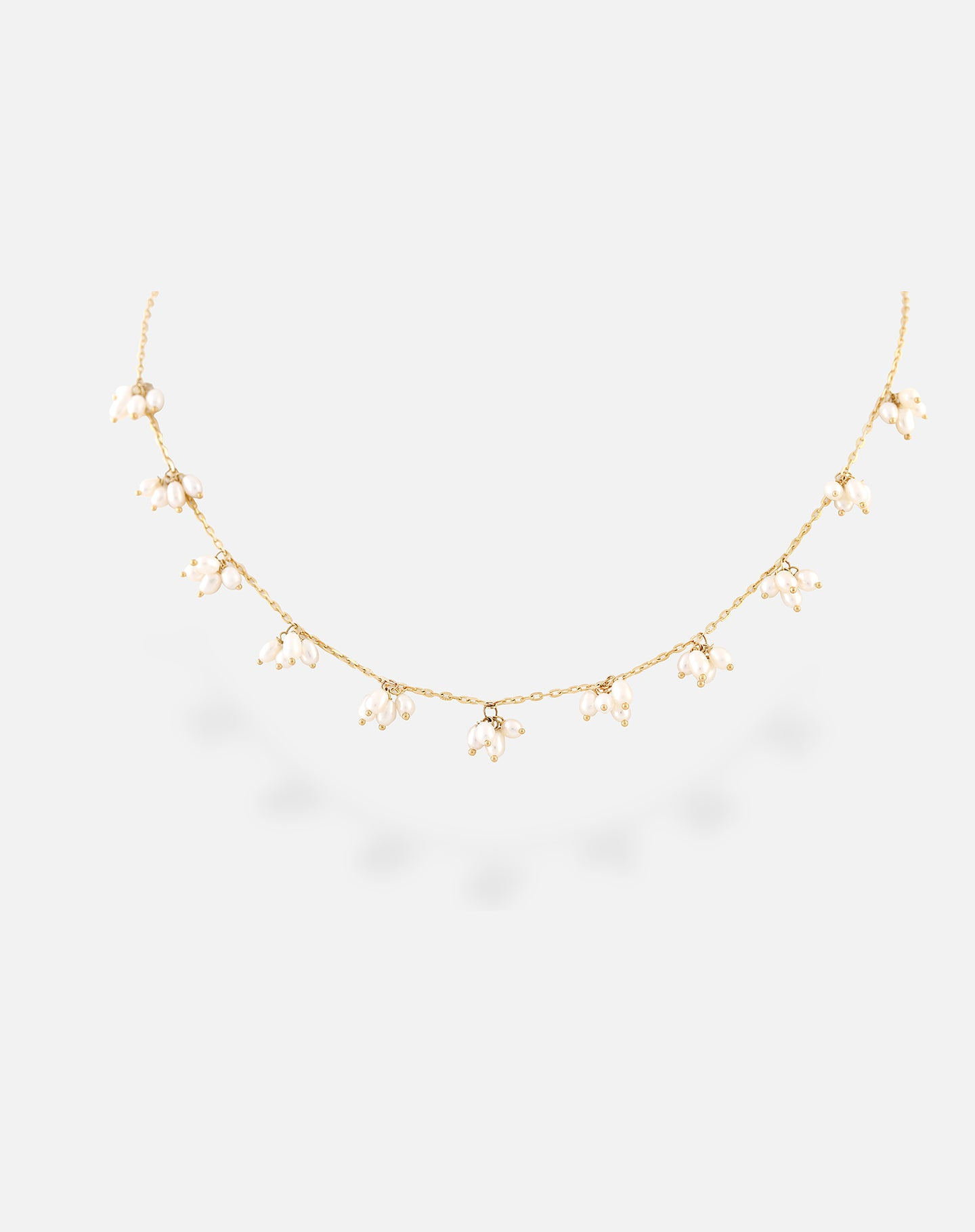 Rose Gold Scattered Pearl Necklace