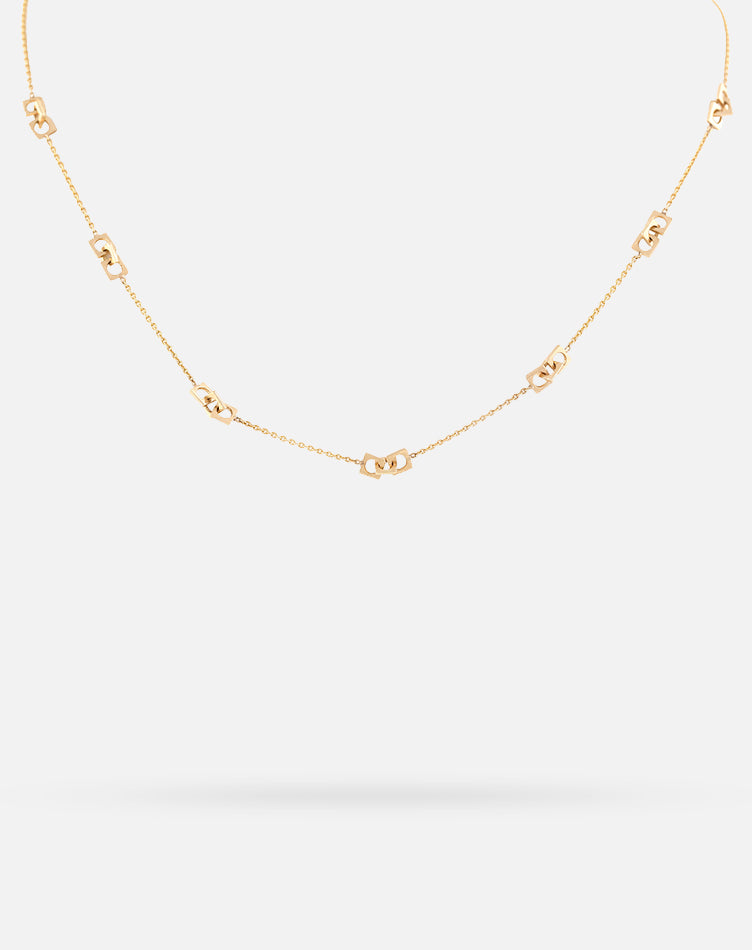 Rose Gold Link Up Short Necklace