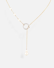 Load image into Gallery viewer, Pearl Circle Lariat Necklace