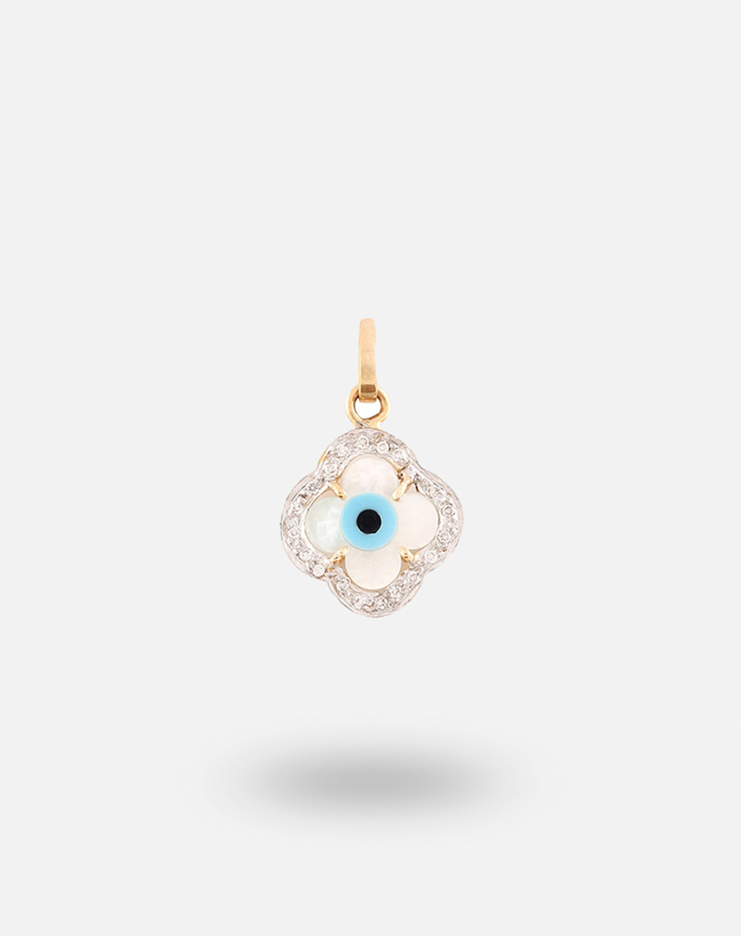 Gold Evil Eye Charm - Clover with Diamonds