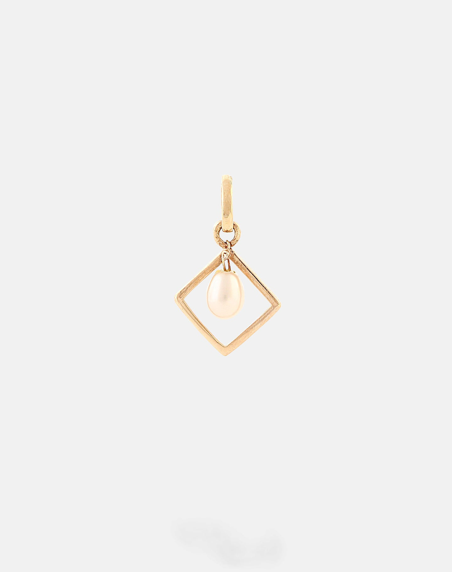 Gold Colored Stone Motivation Charm - Pearl