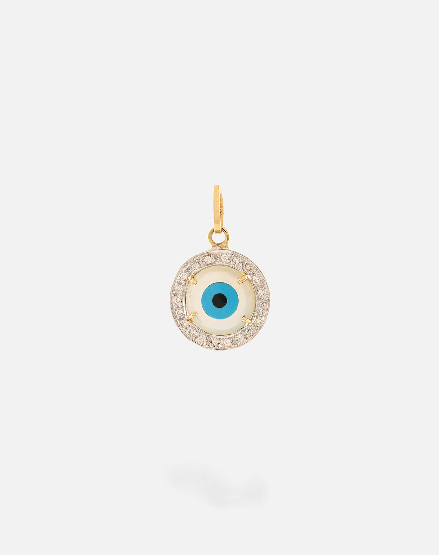 Gold Evil Eye Charm - Round with Diamonds