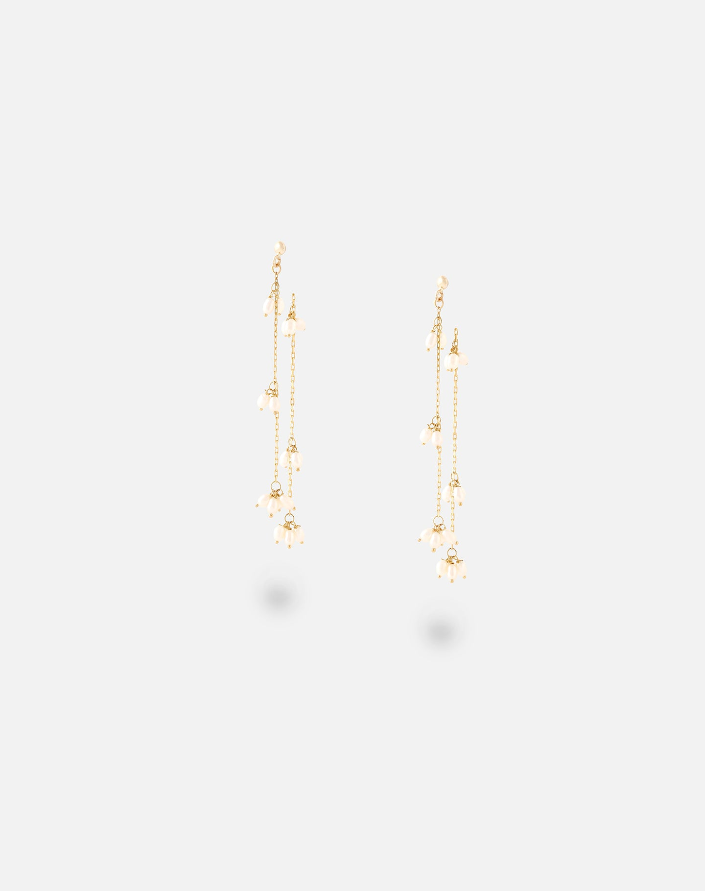 Rose Gold Scattered Pearl Chain Earrings