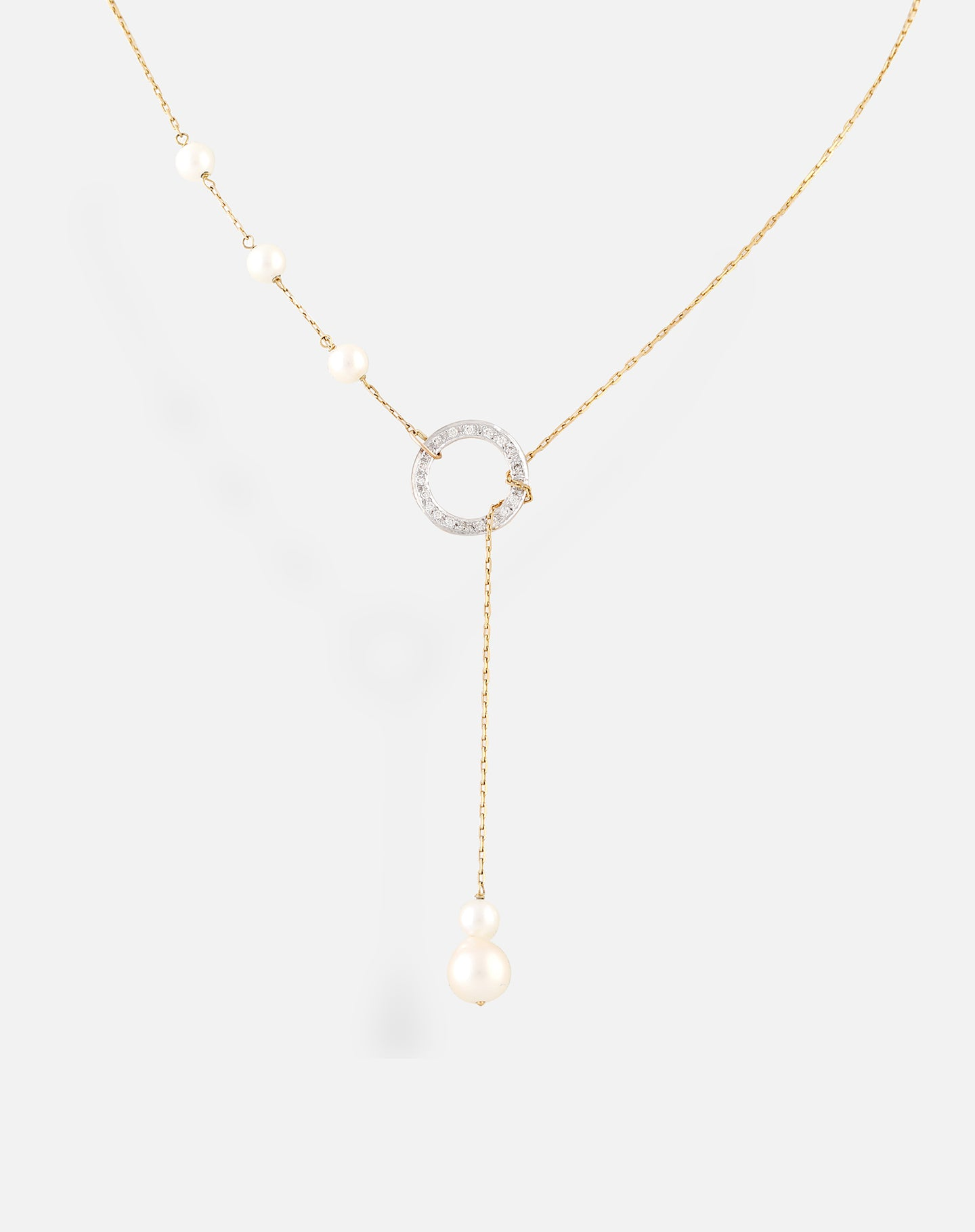 Pearl Circle Lariat Necklace Gold