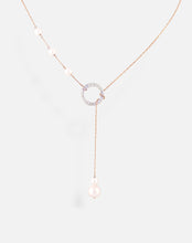 Load image into Gallery viewer, Rose Gold Pearl Circle Lariat Necklace