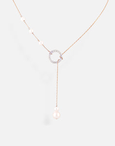 Rose Gold Pearl Circle Lariat Necklace