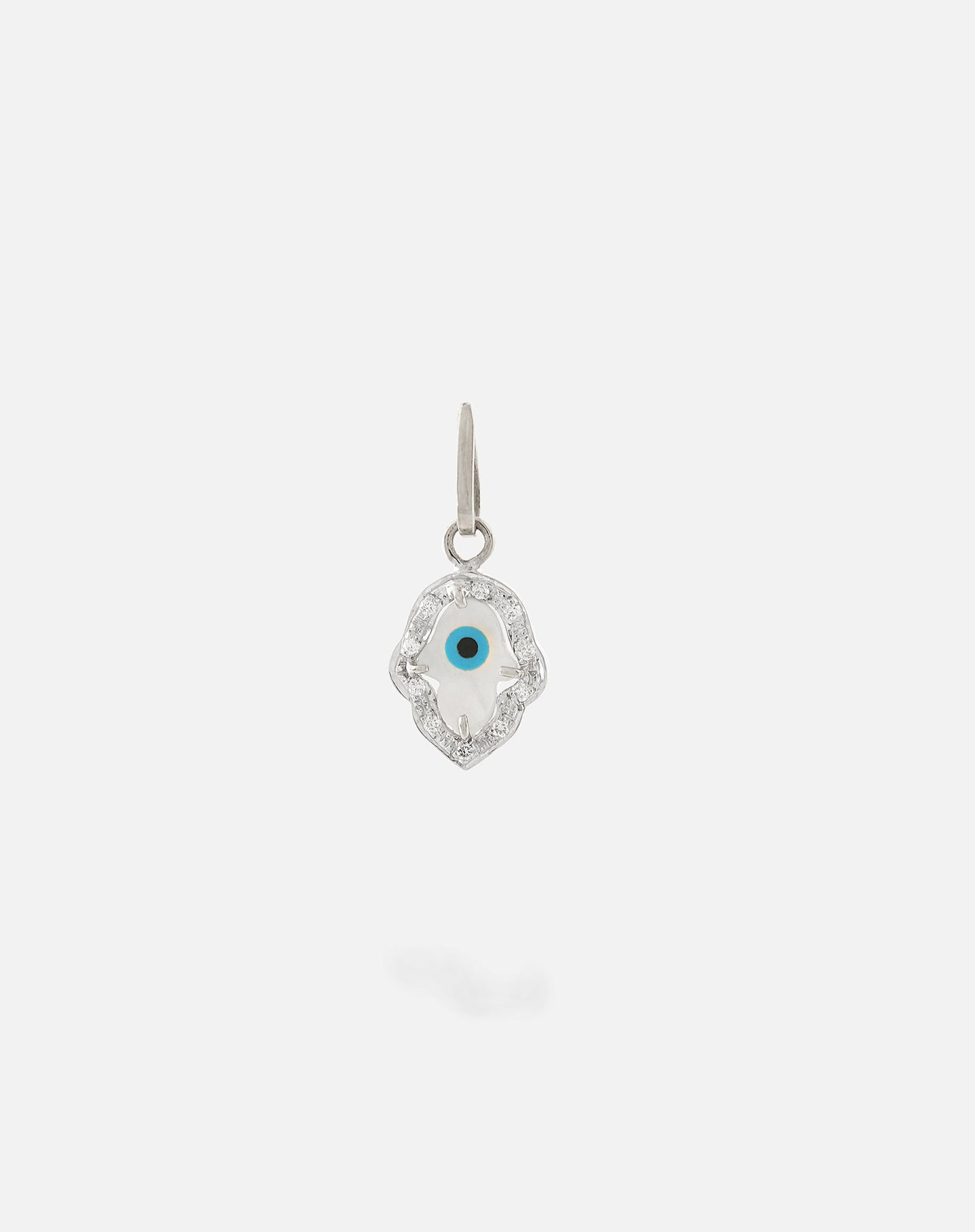 White Gold Evil Eye Charm - Hamsa Hand with Diamonds Small