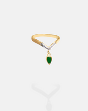 Load image into Gallery viewer, Emerald Pear Drop Diamond Ring