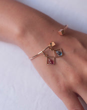 Load image into Gallery viewer, Colored Stone Motivation Charm Pink Tourmaline Bangle
