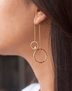 18kt Gold ThreeSixty One Up-down Earrings