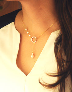 18kt Gold Pearl Circle Lariat Necklace