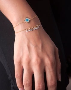 Clover Evil Eye with Dangling Diamonds Chain Bracelet