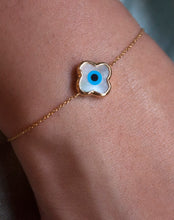 Load image into Gallery viewer, Mini Clover Evil Eye Bracelet
