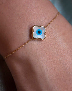 Mini Clover Evil Eye Bracelet