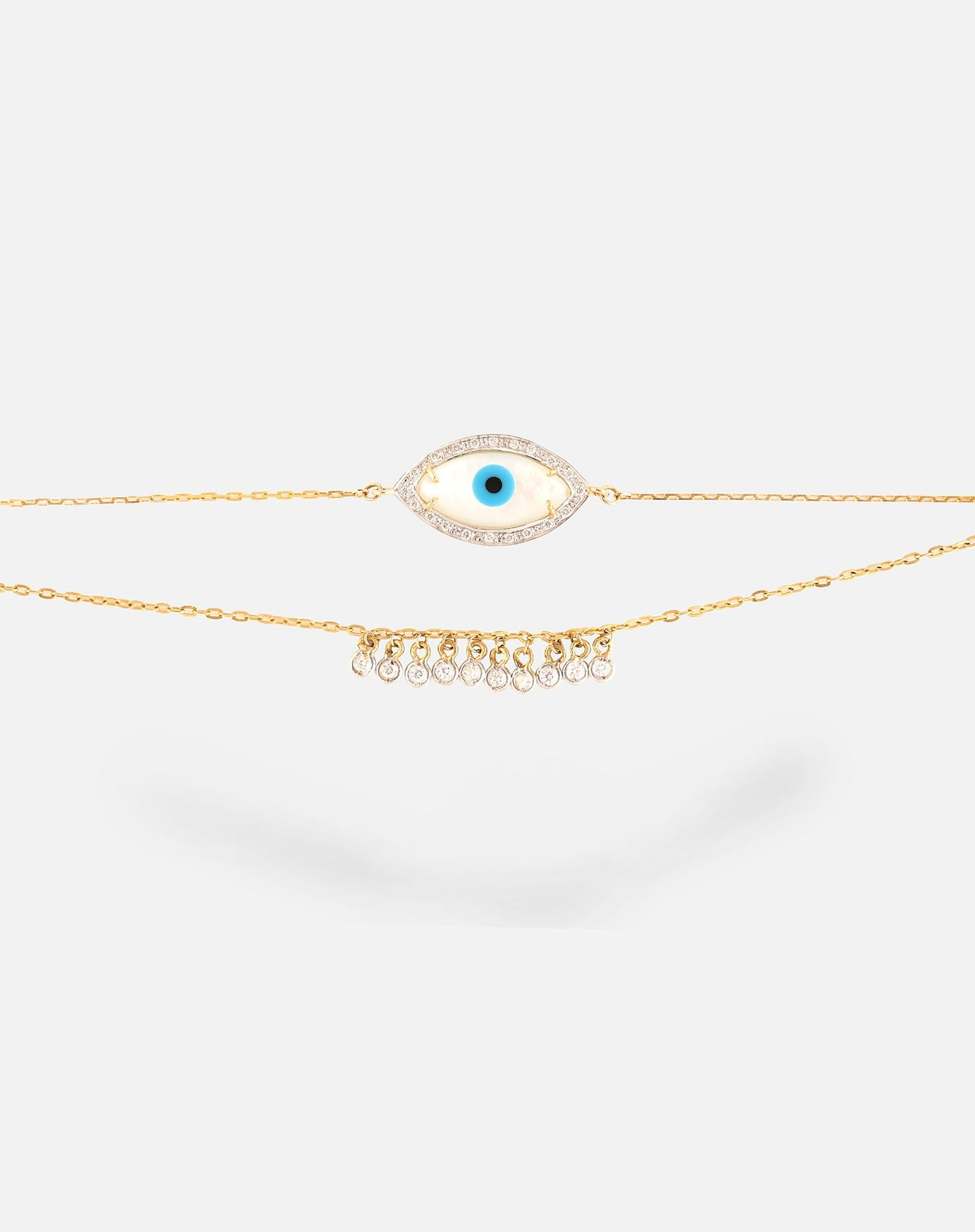 Marquise Evil Eye Bracelet with Dangling Diamonds