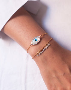 18kt Gold Marquise Evil Eye Bracelet with Both Diamonds