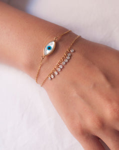 Marquise Evil Eye with Dangling Diamonds Bracelet