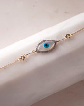 Load image into Gallery viewer, Gold Links Marquise Evil Eye Diamond Bracelet