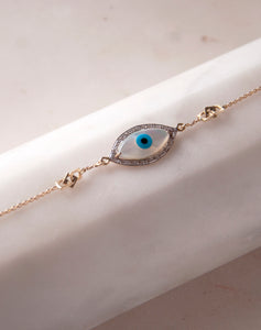 Gold Links Marquise Evil Eye Diamond Bracelet