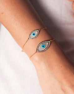 Gold Marquise Evil Eye Diamond Bracelet - Bold