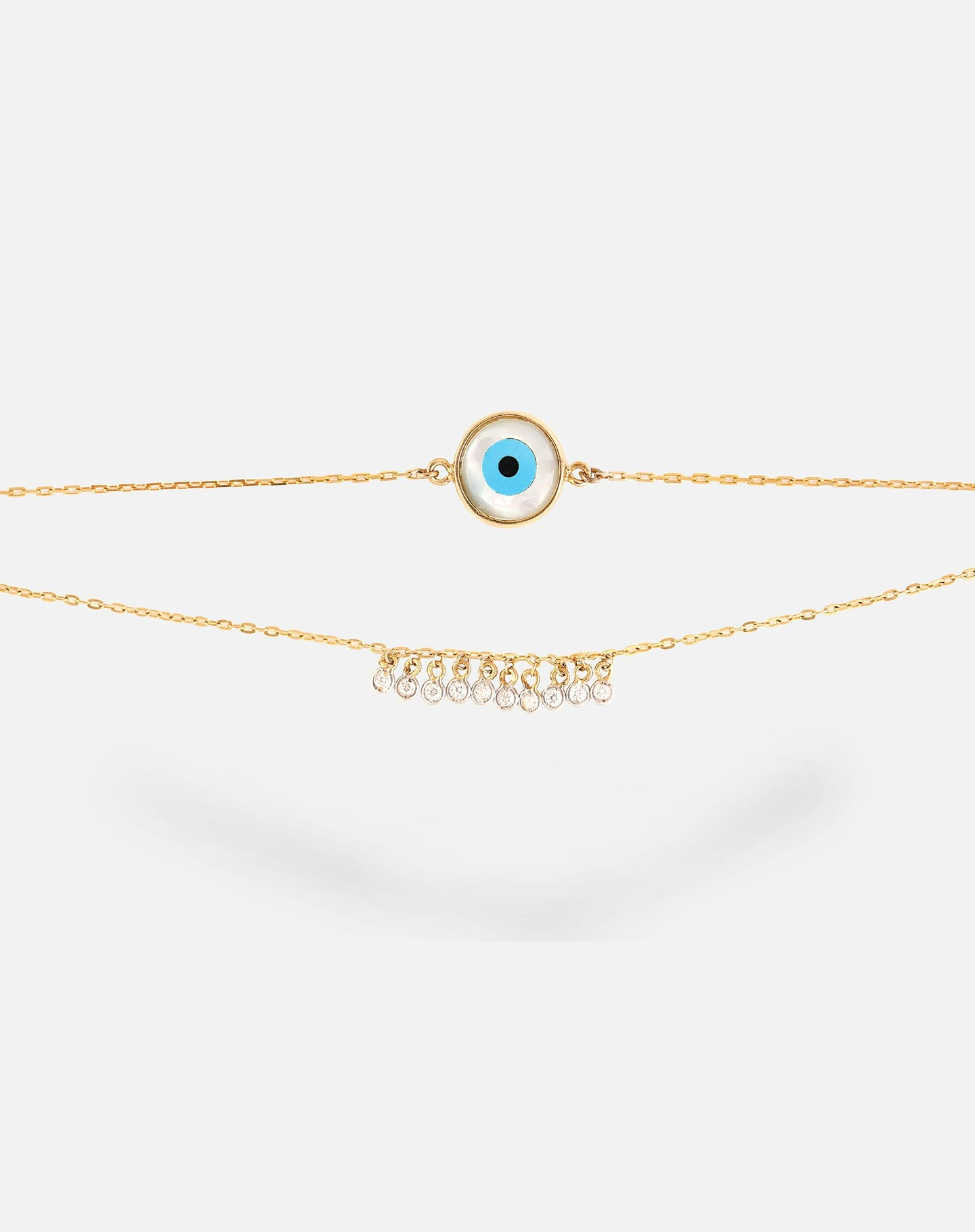 18kt Gold Round Evil Eye With Dangling diamonds Bracelet