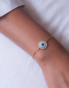 18kt Gold Round Evil Eye Diamond Bracelet