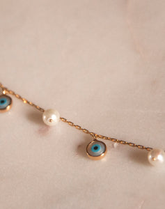 Elegant Evil Eye and Pearl Bracelet