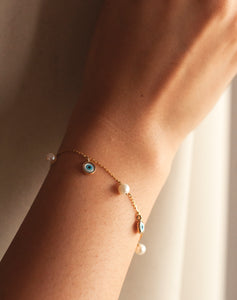 Gold Evil Eye and Pearl Bracelet
