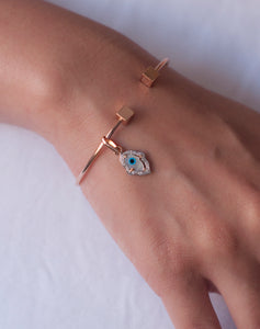 Evil Eye Charm - Gold Hamsa Hand with Diamonds Small