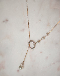 Gold Pearl Circle Lariat Necklace