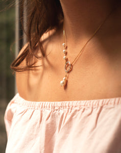 Elegant Pearl Circle Lariat Necklace