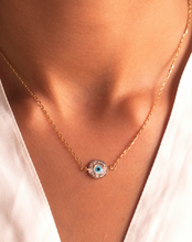 Load image into Gallery viewer, 18kt Gold Mini Evil Eye Round Diamond Necklace