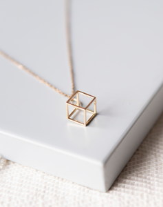 Gold Cube Charm