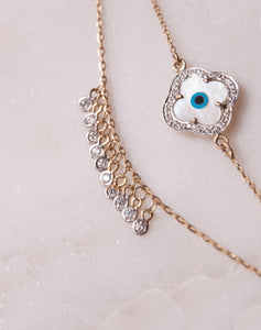 Clover Evil Eye Bracelet with Both Dangling Diamonds