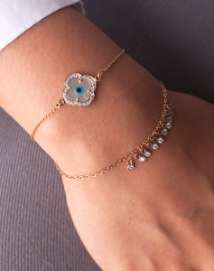 Gold Clover Evil Eye Bracelet with Both Diamonds