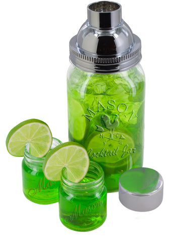 5 Pc. Mason Jar Cocktail Shaker with 2 Plastic Shot Glasses 24 Oz.