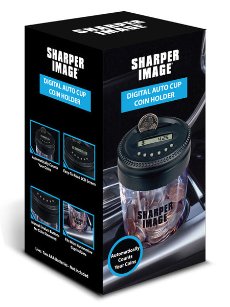 Sharper Image Digital Auto Cup Coin Holder